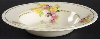 Myott Staffordshire Rosita Rim Soup Bowl, Fine China Dinnerware   Pink & Yellow