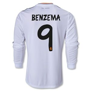 adidas Real Madrid 13/14 BENZEMA LS Home Soccer Jersey