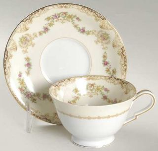 Noritake Lilac Footed Cup & Saucer Set, Fine China Dinnerware   Flower Swags,Urn