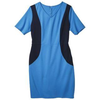 Merona Womens Plus Size V Neck Colorblock Ponte Dress   Blue/Navy 3