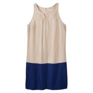 Merona Womens Colorblock Hem Shift Dress   Beige/Waterloo Blue   14