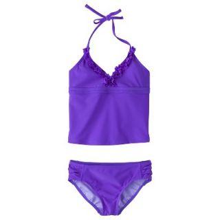 Girls 2 Piece Halter Tankini Swimsuit Set   Purple L