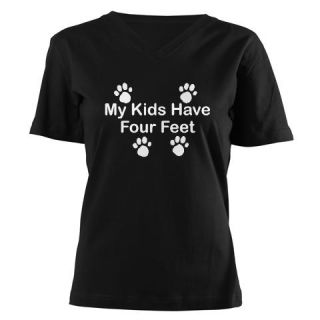 CafePress Kids   4 Feet Womens V Neck Dark T Shirt