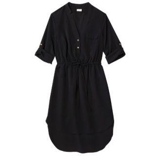 Merona Womens Drawstring Shirt Dress   Black   XS