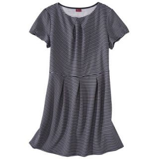 Merona Womens Plus Size Short Sleeve Pleated Front Dress   Navy/White 4