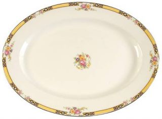 Edwin Knowles 402e1 15 Oval Serving Platter, Fine China Dinnerware   Yellow Ban