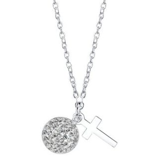 2 Piece Silver Plated Pendant Cross Pave   Silver