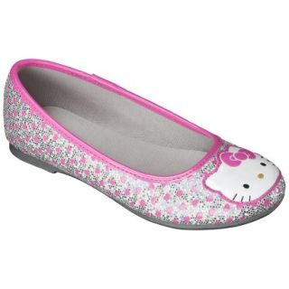 Girls Hello Kitty Ballet Flat   Silver 4