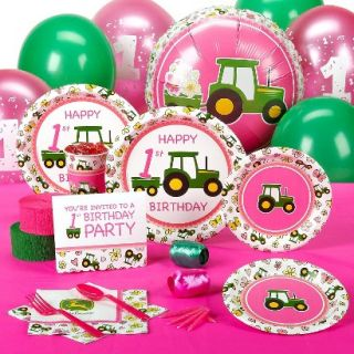 Pink John Deere 1st Birthday Standard Party Pack for 8