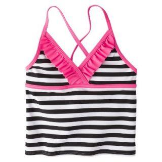 Girls Striped Halter Tankini Swim Top   Black/White M