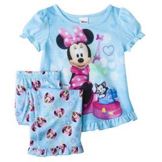 Disney Minnie Mouse Toddler Girls 2 Piece Short Sleeve Pajama Set   Aqua 2T