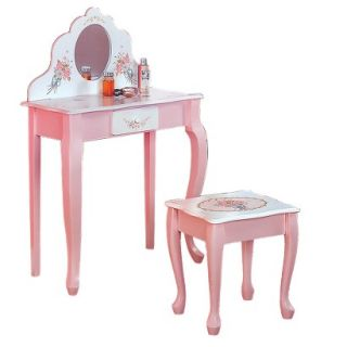 Vanity Table Kids Vanity Table and Stool   Pink/ White