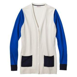 Merona Womens Colorblock Longsleeve Cardigan  White Sand XL