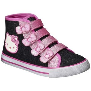 Toddler Girls Hello Kitty High Top Canvas   Black 1