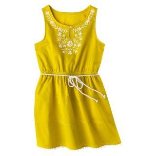 Girls Sleeveless Embellished Front Shirt Dress   Vintage Yellow S