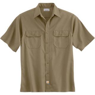 Carhartt Short Sleeve Twill Work Shirt   Khaki, 2XL, Regular Style, Model S223