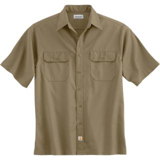 Carhartt Short Sleeve Twill Work Shirt   Khaki, Large, Regular Style, Model S223