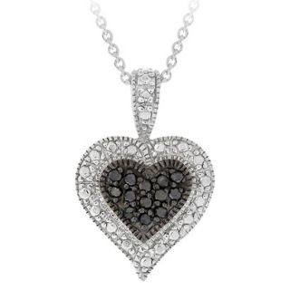 Sterling Silver Diamond Accent Heart Necklace   Black