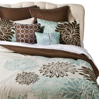 Anya 8 Piece Floral Print Bedding Set   Blue/Brown (King)