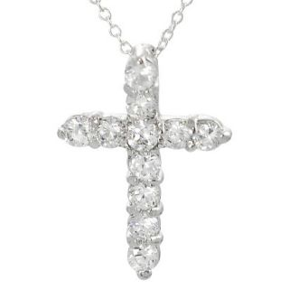 Sterling Silver Round cut Cubic Zirconia Cross Necklace   Silver