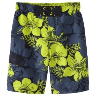 Boys Hibiscus Flower Swim Trunk   Black L