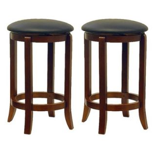 Barstool: Winsome 2 Pk Carlson Swivel Barstool   Brown (Walnut)