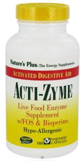 Natures Plus   Acti Zyme with Live Food Enzymes FOS & Bioperine   180 Capsules