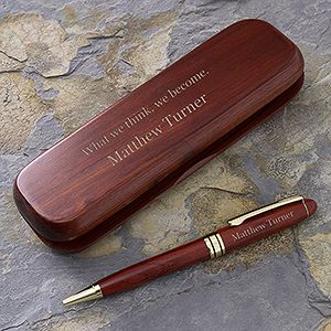 Personalized Rosewood Pen Set   Choose Your Quote