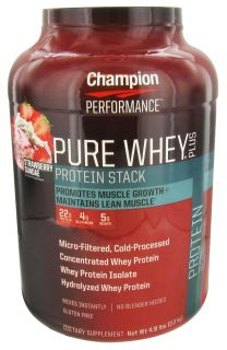Champion Performance   Pure Whey Protein Stack Strawberry Sundae   4.8 lbs.