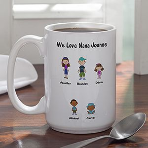 Personalized Large Coffee Mugs   Family Cartoon Characters