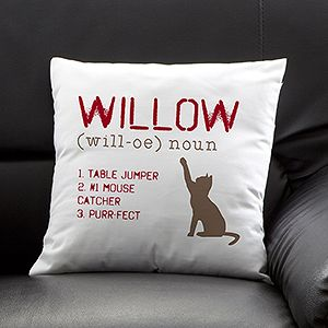 Personalized Cat Throw Pillow  Definition of My Cat