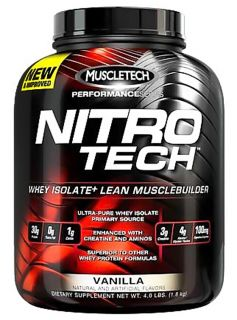 Muscletech Products   Nitro Tech Performance Series Whey Isolate Vanilla   4 lbs.