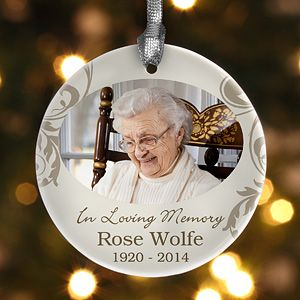 Personalized Photo Christmas Ornament   In Loving Memory