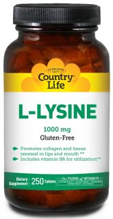 Country Life   L Lysine Amino Acid Supplement with B 6 1000 mg.   250 Tablets