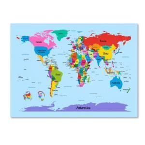 Trademark Fine Art 22 in. x 32 in. Childrens World Map Canvas Art MT0300 C2232GG