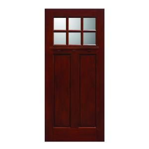 Main Door Craftsman Collection 6 Lite Prefinished Cherry Solid Mahogany Type Wood Slab Entry Door SH 706 CH
