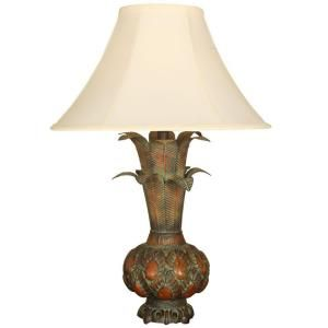 30 in. Leaf Urn Accent Burnt Orange Lamp with Shade 07T558