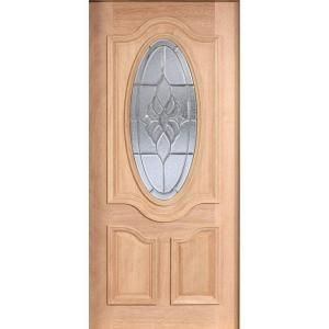 Main Door Mahogany Type Unfinished Beveled Patina 3/4 Oval Glass Solid Wood Entry Door Slab SH 557 UNF BPT