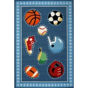 LA Rug Inc. Olive Kids Go Team Multi Colored 39 in. x 58 in. Area Rug OLK 029 3958