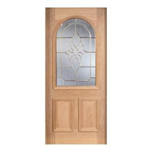 Main Door Mahogany Type Unfinished Beveled Brass Roundtop Glass Solid Wood Entry Door Slab SH 559 UNF B