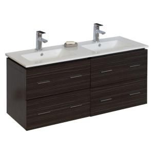 American Imaginations 48 in. Double Vanity in Dawn Grey with Ceramic Vanity Top in White 740