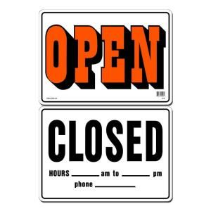 Lynch Sign 14 in. x 10 in. Black and Orange Open   Black Closed on Plastic Sign R   1C
