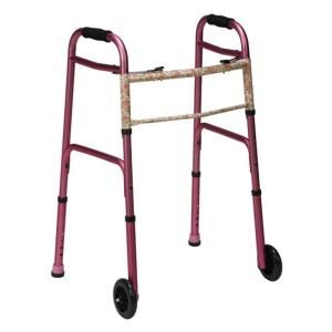 DMI Two Button Release Folding Walker with Wheels in Pink/Floral 802 1045 0900