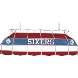 Trademark Global NBA Philadelphia 76ers NBA 3 Light Stained Glass Hanging Tiffany Lamp NBA4000 PH