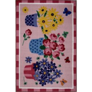 LA Rug Inc. Olive Kids Blossoms and Butterflies Multi Colored 39 in. x 58 in. Area Rug OLK 014 3958