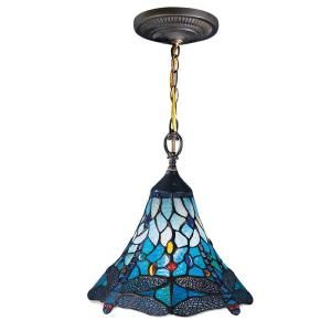 Dale Tiffany Mendocino Dragonfly 1 Light Hanging Antique Brass Mini Pendant with Art Glass Shade 8935/1LTA