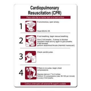 Lynch Sign 16 in. x 21 in. Burgundy on White Plastic CPR Instructions Sign CPR  1