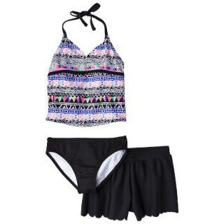 Girls 3 Piece Halter Tankini and Short Swimsuit Set   Black/Purple M