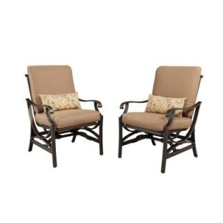 Hampton Bay Pine Valley Motion Patio Dining Chair with Linen Spice Cushion (2 Pack) S2 ABF00920