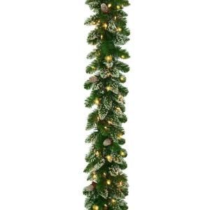 National Tree Company 9 ft. Crystal Spruce Garland with Glittered Tips, Pine Cone with 100 Clear Lights CRY10 300 9A